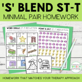 S Blend Cluster Reduction Minimal Pairs Homework | ST-T Wo