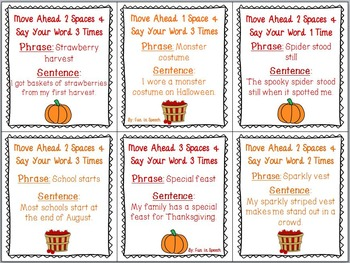 S Blend Fall Themed Articulation Board Game