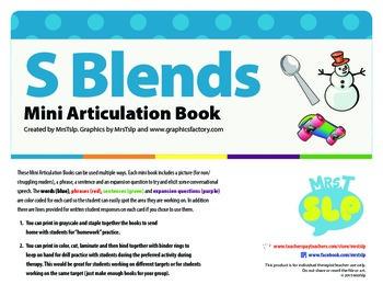 Articulation Mini Book: S Blends (Freebie)