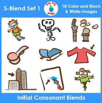 S-Blend Phonics Clip Art Set 1