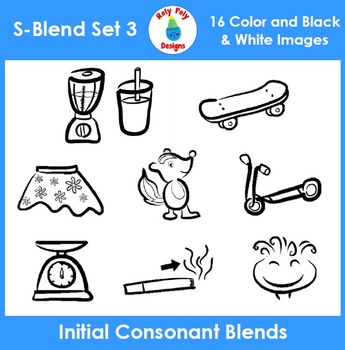 S-Blend Phonics Clip Art Set 3