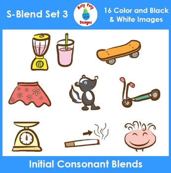 S-Blend Phonics Clip Art Set 3