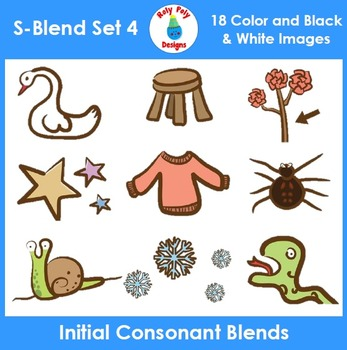 S-Blend Phonics Clip Art Set 4