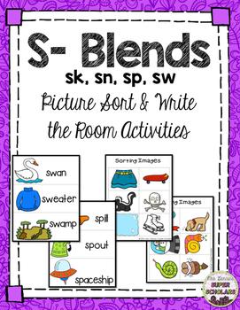 S- Blend Sort/ Write the Room (sk, sn, sp, sw)