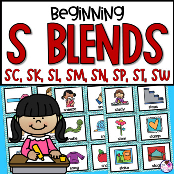 S Blends Unit With SC, SK, SL, SM, SN, SP, ST, SW Sorting Activity and Practice