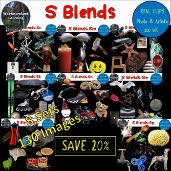 S Blends Clip Art BUNDLE Phonics Real Clips Digital Stickers Photo & Artistic