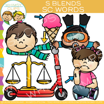 S Blends Clip Art: SC Words Clip Art {Volume One}