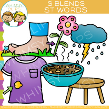 S Blends Clip Art - ST Words - Volume One