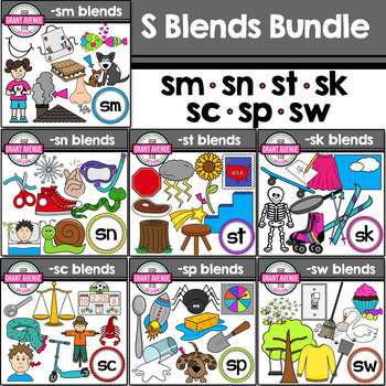 S Blends Clipart Bundle - Phonics Clipart Bundle