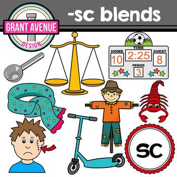 S Blends Clipart - SC Words Clipart