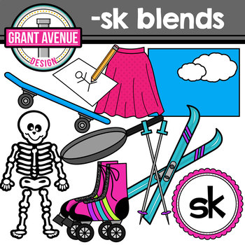 S Blends Clipart - SK Words Clipart