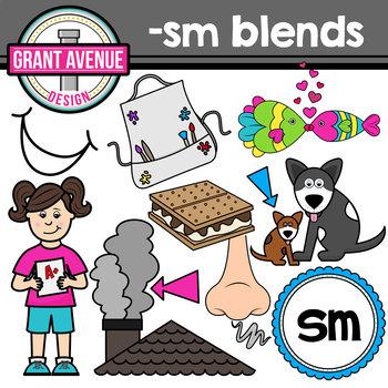 S Blends Clipart - SM Words Clipart