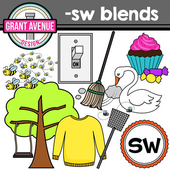 S Blends Clipart - SW Words Clipart