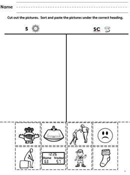 S-Blends Cut and Paste Picture Sorts--Phonics / Phonemic Awareness Worksheets