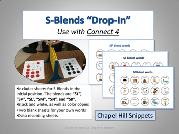 """S-Blends """"Drop-In"""" Articulation Game (Use with Connect 4)"""