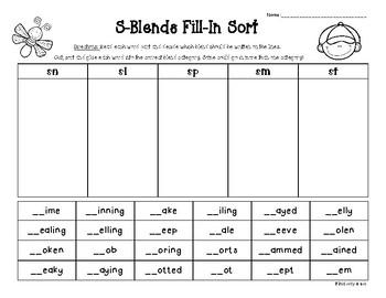 S- Blends Fill-In Sort - sn, sl, sm, sp, st