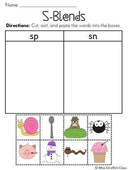 Worksheets S Blend Worksheets s blends worksheets pack by miss giraffe teachers pay pack