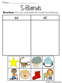 S Blends Worksheets Pack