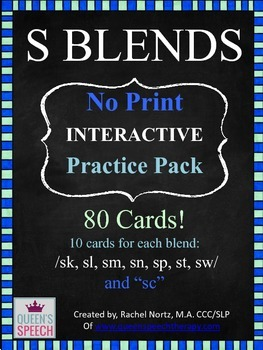 /S/ Blends -No Print- Interactive Practice Pack