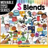 S Blends Phonics Clip Art Movable Pieces