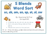 S Blends: Picture Sort with Matching Words