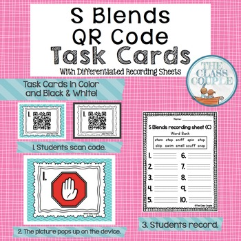 S Blends QR Code Task Cards