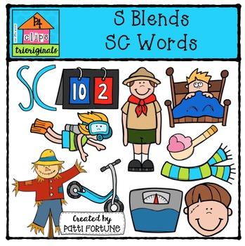 S Blends SC words {P4 Clips Trioriginals Digital Clip Art}