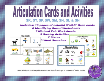 S Blends & /SH/ Articulation Cards, Worksheets, and Activities