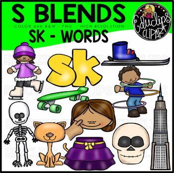 S Blends - SK Words Clip Art Bundle {Educlips Clipart}