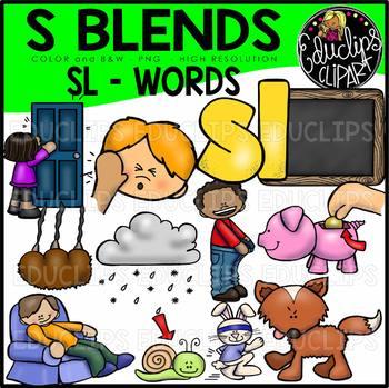 S Blends - SL Words Clip Art Bundle {Educlips Clipart}
