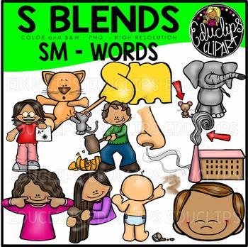 S Blends - SM Words Clip Art Bundle {Educlips Clipart}