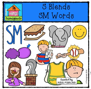 S Blends SM Words {P4 Clips Trioriginals Digital Clip Art}