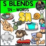 S Blends - SN Words Clip Art Bundle {Educlips Clipart}