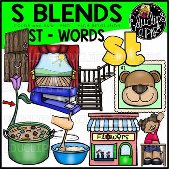 S Blends - ST Words Clip Art Bundle {Educlips Clipart}