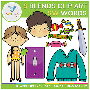 S Blends: SW Words Clip Art