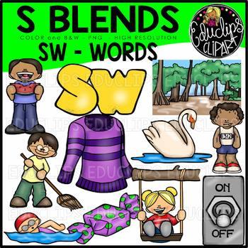 S Blends - SW Words Clip Art Bundle {Educlips Clipart}