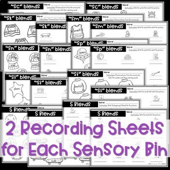 S Blends Sensory Bins and Worksheets
