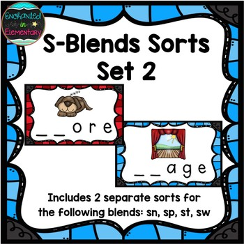 S-Blends Sorts Set 2: sn, sp, st, and sw