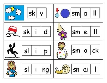 S Blends Spelling Cards