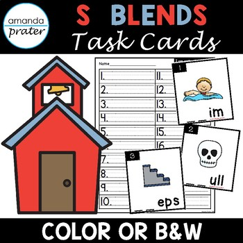 S Blends Task Cards (Scoot, Write the Room, Center)
