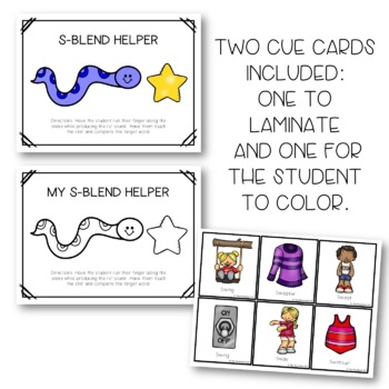 Speech Language Pathology: S-Blends Visual Cue and Articulation Cards