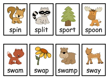 S Blends Word Game sn- st- sm- sc- sp- sw-