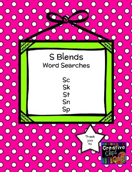 S Blends Word Searches- No Prep! 5 word searches included