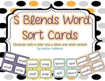 S Blends Word Sort Card Set