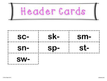 S Blends Word Sort Grades 1-3