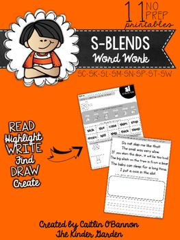 S-Blends Word Work Printables