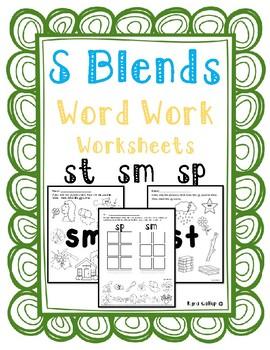 S Blends Word Work Worksheet Set