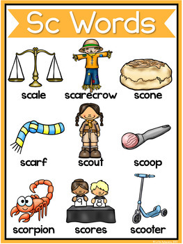 S Blends Worksheets - SC Blend Words