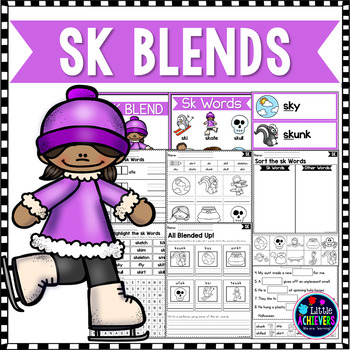 S Blends Worksheets Sk Blend Words By Little Achievers Tpt