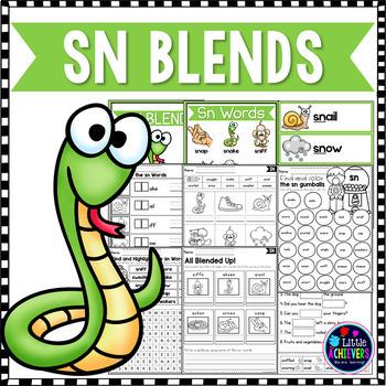 S Blends Worksheets - SN Blend Words